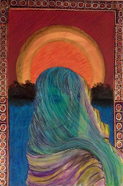 Hindu Woman Mixed Media on Canvas 90x60cm